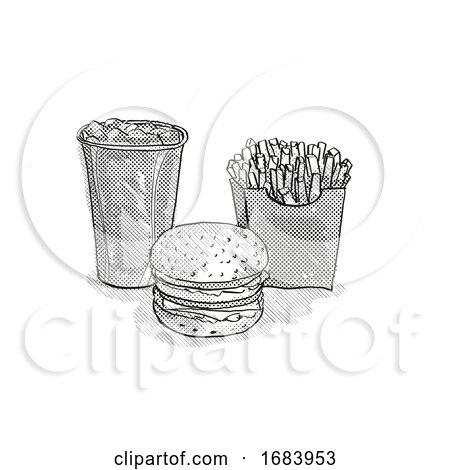 Hamburger, Small Fries and Soft Drink Cartoon Retro Drawing by patrimonio