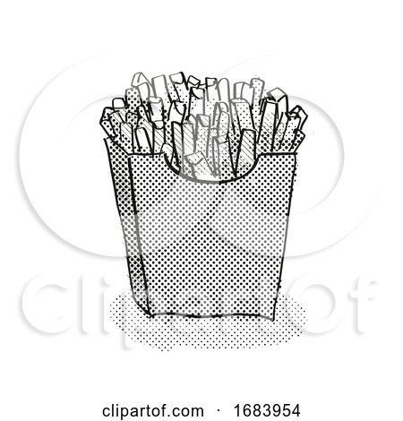 Packet of Small French Fries Cartoon Retro Drawing by patrimonio