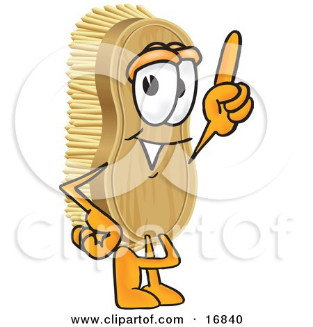 Clipart Picture of a Scrub Brush Mascot Cartoon Character Pointing Upwards by Toons4Biz