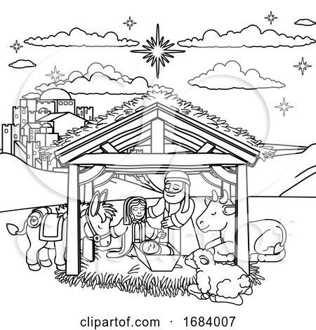 Nativity Scene Christmas Cartoon by AtStockIllustration
