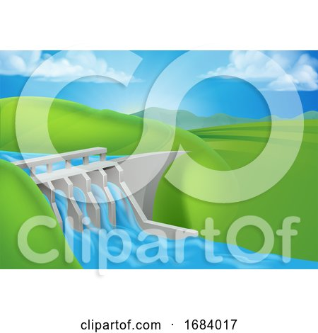Hydro Water Power Dam Generating Electricity by AtStockIllustration
