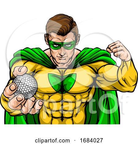 Superhero Holding Golf Ball Sports Mascot by AtStockIllustration