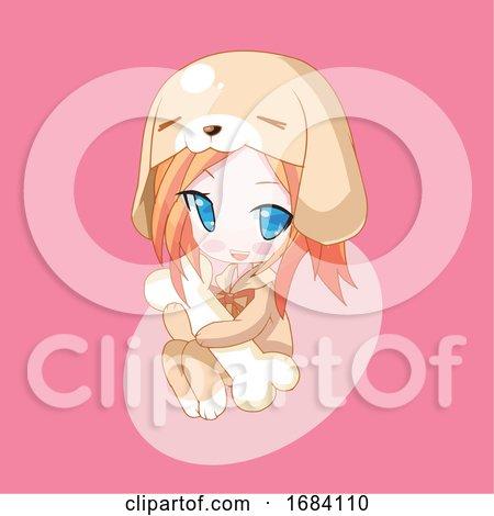 Manga Girl in a Puppy Costume Hugging a Bone by mayawizard101