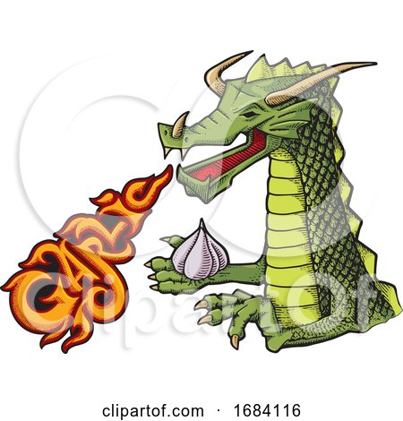 Cartoon Dragon with Fiery Garlic Breath by Any Vector
