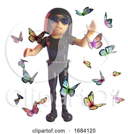 3d Fashion Goth Girl in Leather Catsuit Surrounded by Butterflies, 3d Illustration by Steve Young