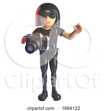 3d Goth Fashion Girl in Leather Catsuit Taking a Photo with an SLR Camera, 3d Illustration by Steve Young