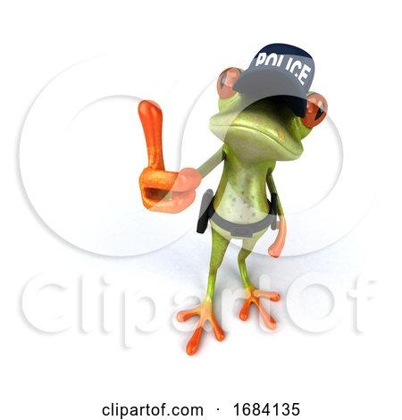 3d Green Springer Police Frog by Julos