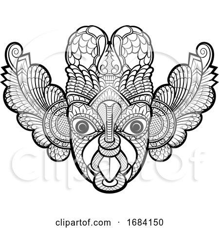 Black and White Traditional Sri Lanka Devil Mask by Lal Perera