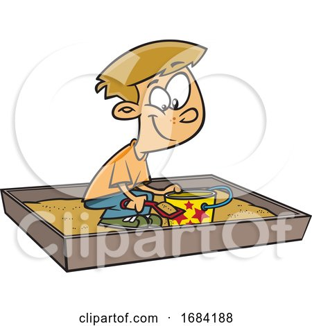 Cartoon White Boy Playing in a Sand Box by toonaday