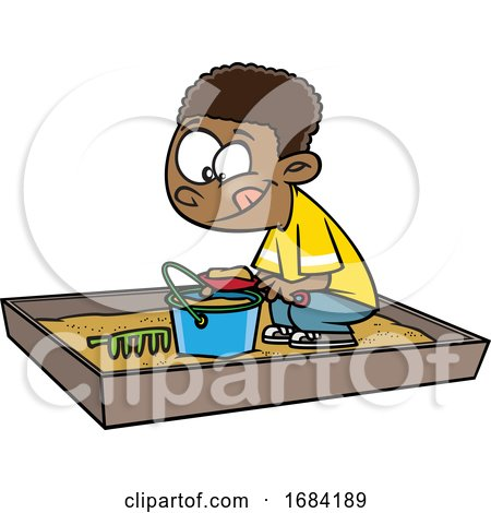 Cartoon Black Boy Playing in a Sand Box by toonaday