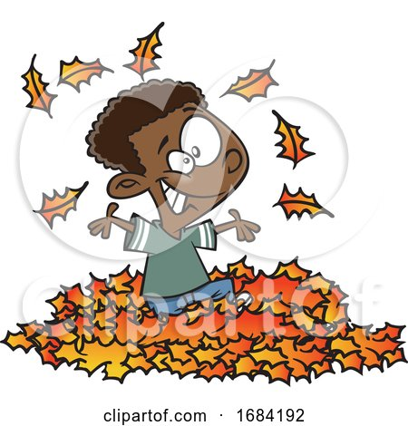 Cartoon Black Boy Playing in Autumn Leaves by toonaday