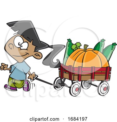 Cartoon Harvest Girl with a Wagon of Produce by toonaday