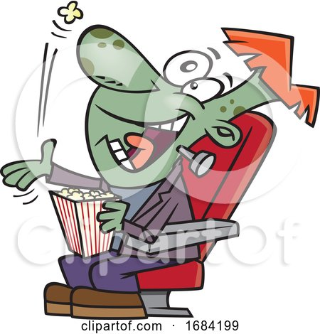 Cartoon Frankenstein Boy Popping Popcorn in His Mouth at the Movies by toonaday