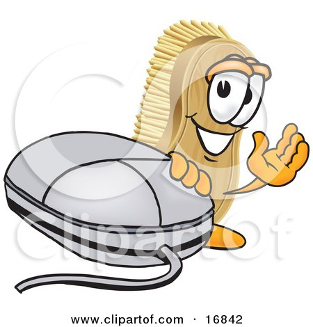 Clipart Picture of a Scrub Brush Mascot Cartoon Character Waving and Standing by a Computer Mouse by Toons4Biz