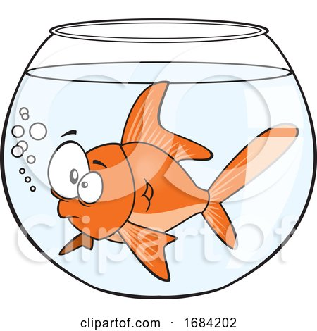 Cartoon Goldfish in a Bowl by toonaday