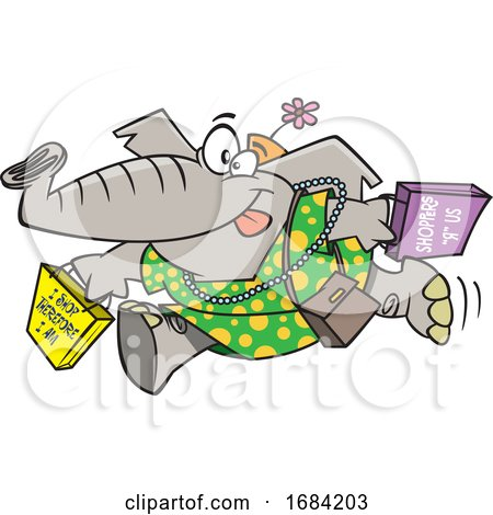 Cartoon Female Elephant Shopping by toonaday