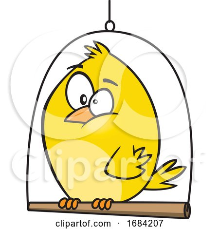 Cartoon Canary Bird on a Swing by toonaday
