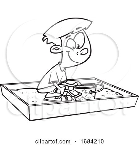 Lineart Boy Playing in a Sand Box by toonaday