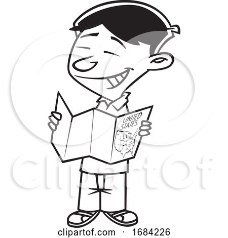 Lineart Asian Boy Reading a Map by toonaday