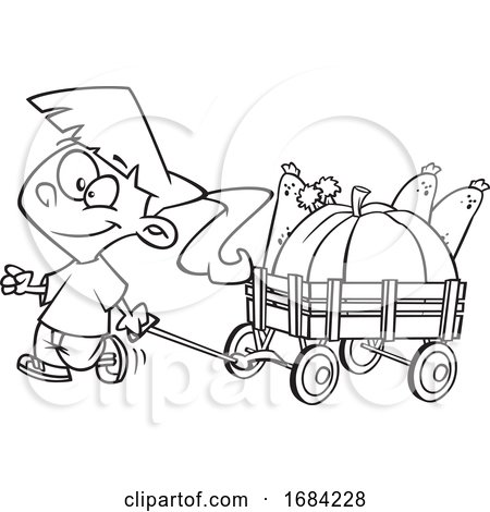 Lineart Harvest Girl with a Wagon of Produce by toonaday
