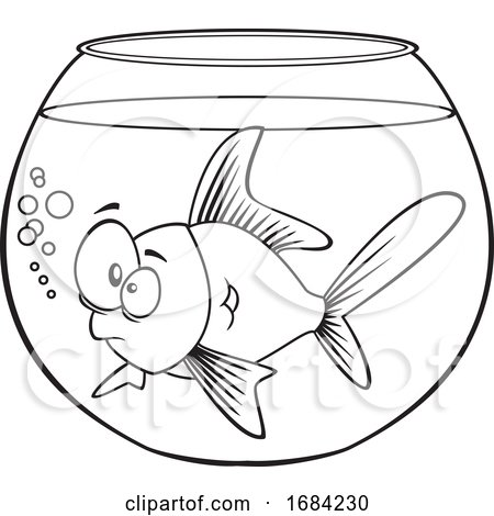 Lineart Goldfish in a Bowl by toonaday