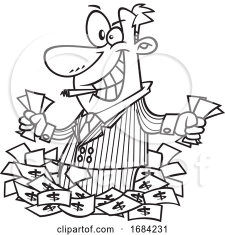 Lineart Greedy Rich Businessman or Salesman by toonaday