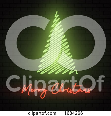 Neon Christmas Tree Sign by KJ Pargeter