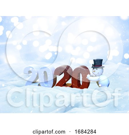 3D Christmas Snow Landscape with Snowman Bringing the New Year in by KJ Pargeter