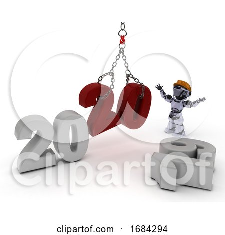 Robot Bringing in the New Year by KJ Pargeter