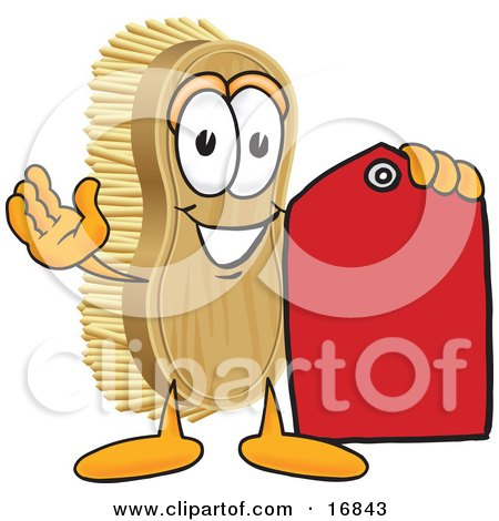Clipart Picture of a Scrub Brush Mascot Cartoon Character Holding a Red Sales Price Tag by Toons4Biz