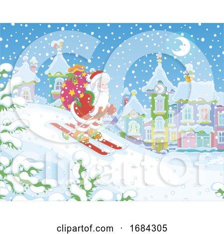 Santa Skiing by Alex Bannykh