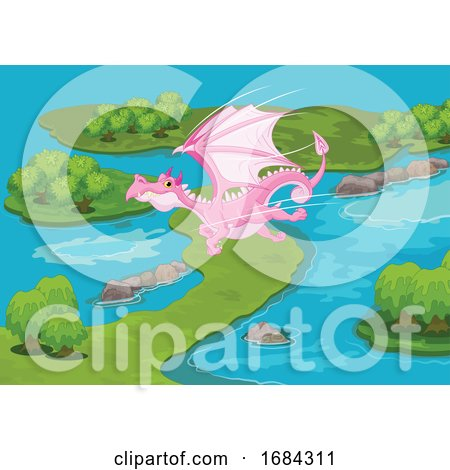 Pink Dragon Flying over Islands by Pushkin