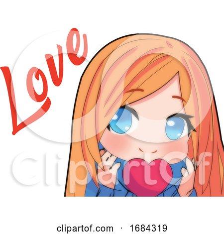 Manga Girl With A Love Heart by mayawizard101