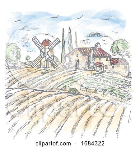 Watercolor Vector Farm Engraved Style Drawing by Domenico Condello