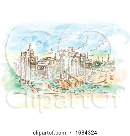 Watercolor Remains of Temples in Foro Romano Rome Italy by Domenico Condello