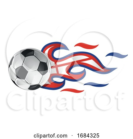 Soccer Ball with England Flag Flames by Domenico Condello