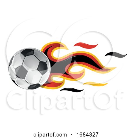 Soccer Ball with Germany Flag Flames by Domenico Condello