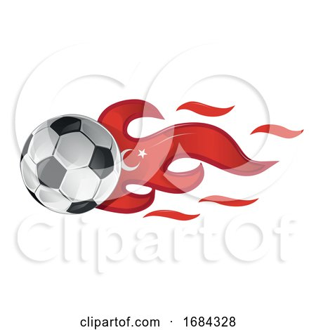 Soccer Ball with Turkey Flag Flames by Domenico Condello