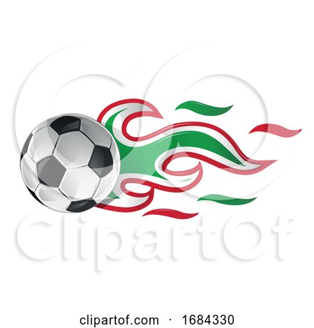 Soccer Ball with Mexican Flag Flames by Domenico Condello