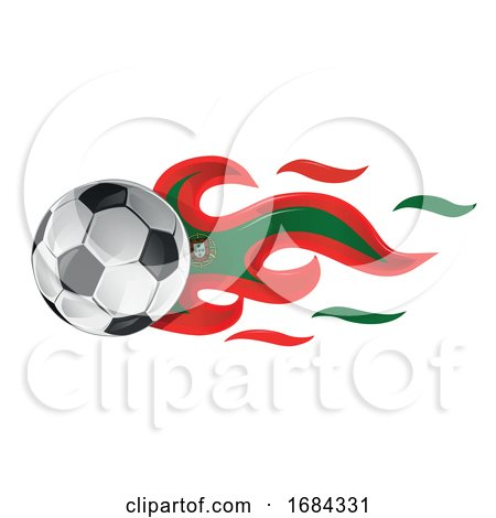 Soccer Ball with Portugal Flag Flames by Domenico Condello