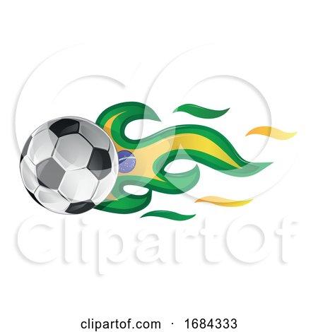 Soccer Ball with Brazil Flag Flames by Domenico Condello