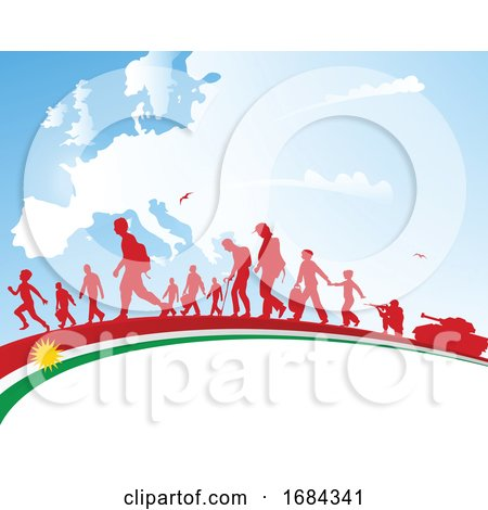 Immigration People with Kurdistan Flag on Europe Map Background by Domenico Condello