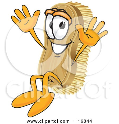 Clipart Picture of a Scrub Brush Mascot Cartoon Character Jumping by Toons4Biz