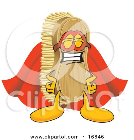 Clipart Picture of a Scrub Brush Mascot Cartoon Character Dressed as a Super Hero by Toons4Biz