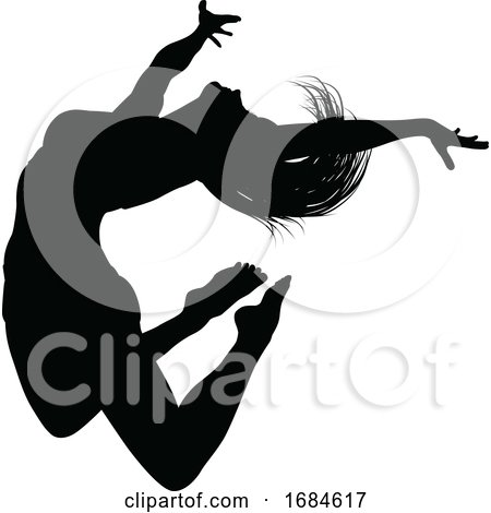 Silhouette Dancer Jumping by AtStockIllustration