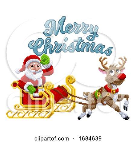 Santa Claus Reindeer Sleigh Christmas Pixel Art by AtStockIllustration