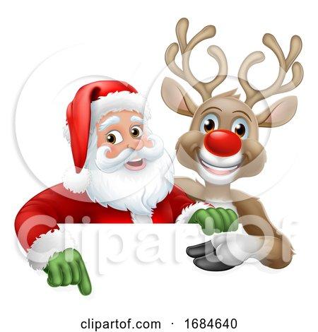 Santa Claus and Reindeer Christmas Cartoon by AtStockIllustration