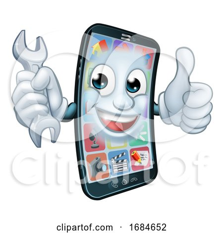 Mobile Phone Repair Spanner Thumbs up Cartoon by AtStockIllustration