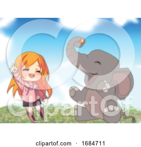 Manga Girl and Friend Elephant by mayawizard101
