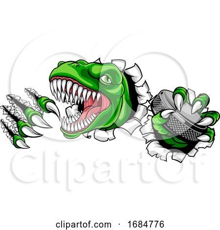 Dinosaur Ice Hockey Player Animal Sports Mascot by AtStockIllustration